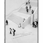 Overhead View Tennyson Quote British Museum - London, UK - Artist Designed Custom Border - Black & White