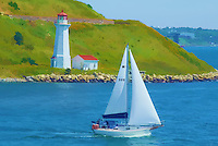 Sailboat and Lighthouse in the Halifax Harbor. Image taken with a Nikon 1 V1 camera and 30-110 mm VR lens (ISO 100, 93.5 mm, f/8, 1/320 sec). Watercolor effect applied using a Topaz Simplify/Painterly filter.
