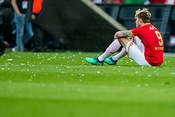 Wout Weghorst of AZ during the Dutch Toto KNVB Cup Final match between AZ Alkmaar and Feyenoord on April 22, 2018 at the Kuip stadium in Rotterdam, The Netherlands.