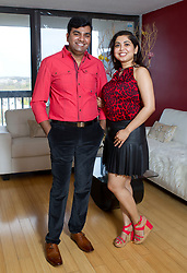 """EXCLUSIVE: Every day, this couple wear color-coordinated outfits that require dozens of hours and hundred of dollars each month to plan. Naveen Chintamani and Deblina Halder, both in their 30s, married in 2015 say they don't want to necessarily match, rather they want to coordinate. Naveen admits, """"She picks all my clothes. She knows what looks good on me — she's always right,"""" he says. """"She wanted this to happen, but I still feel manly. I want to make her happy. It makes me proud when she grabs my arm — it shows how much we love each other. People respect the love. Some people may say it's awkward, but it is what it is."""" They spend about $500 a month on clothes. ***NO NEW YORK DAILY NEWS, NO NEW YORK TIMES, NO NEWSDAY***. 23 Apr 2017 Pictured: Naveen Chintamani, Deblina Halder. Photo credit: Brian Zak/NY Post/MEGA TheMegaAgency.com +1 888 505 6342"""