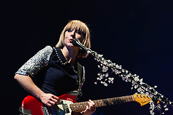 © Licensed to London News Pictures. 22/02/2013. London, UK.   Ritzy Bryan of The Joy Formidable performing live at Earls Court, supporting headliner Bloc Party.   The Joy Formidable is a Welsh alternative rock band formed in 2007 in North Wales and currently located in London, England. The band consists of Ritzy Bryan (lead vocals, guitar), Rhydian Dafydd (bass, backing vocals), and Matt Thomas (drums, percussion).Photo credit : Richard Isaac/LNP