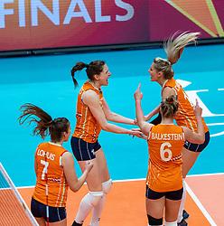 19-10-2018 JPN: Semi Final World Championship Volleyball Women day 18, Yokohama<br /> Serbia - Netherlands / Lonneke Sloetjes #10 of Netherlands, Laura Dijkema #14 of Netherlands