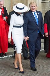 © Licensed to London News Pictures. 03/06/2019. London, UK. US President Donald Trump and First Lady Melina Trump visit Westminster Abbey on the first day of a three day state visit to the UK. Photo credit: Ray Tang/LNP