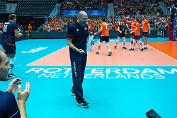 10-08-2019 NED: FIVB Tokyo Volleyball Qualification 2019 / Belgium - Netherlands, Rotterdam<br /> Third match pool B in hall Ahoy between Belgium vs. Netherlands (0-3) for one Olympic ticket / Centercourt Hall view Ahoy, Coach Roberto Piazza of Netherlands