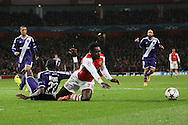 Arsenal's Danny Welbeck gets brought down to win a penalty<br /> <br /> - Champions League Group D - Arsenal vs Anderlecht- Emirates Stadium - London - England - 4th November 2014  - Picture David Klein/Sportimage
