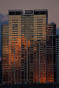 Glass highrise building at sunset