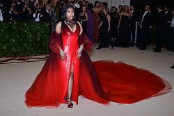 Nicki Minaj walking the red carpet at The Metropolitan Museum of Art Costume Institute Benefit celebrating the opening of Heavenly Bodies : Fashion and the Catholic Imagination held at The Metropolitan Museum of Art  in New York, NY, on May 7, 2018. (Photo by Anthony Behar/Sipa USA)