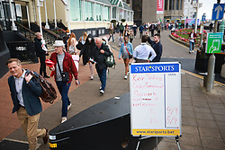 © Licensed to London News Pictures. 25/09/2021. Brighton, UK. Betting board laying out odds on Keir Starmer losing his leadership role . The first day of the 2021 Labour Party Conference , which is taking place at the Brighton Centre . Photo credit: Joel Goodman/LNP