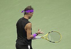 September 8, 2019, Flushing Meadows, New York, United States of America: Rafael Nadal looks at his hand during his Men Singles Finals match against Daniil Medvedev on Day 14 of the 2019 US Open at USTA Billie Jean King National Tennis Center on Sunday September 8, 2019 in the Flushing neighborhood of the Queens borough of New York City. JAVIER ROJAS/PI (Credit Image: © Prensa Internacional via ZUMA Wire)