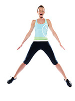woman running on studio white isolated background