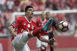 May 13, 2017 - Lisbon, Portugal - Benfica's forward Raul Jimenez in action during Premier League 2016/17 match between SL Benfica vs Vitoria SC, in Lisbon, on May 13, 2017. (Credit Image: © Carlos Palma/NurPhoto via ZUMA Press)