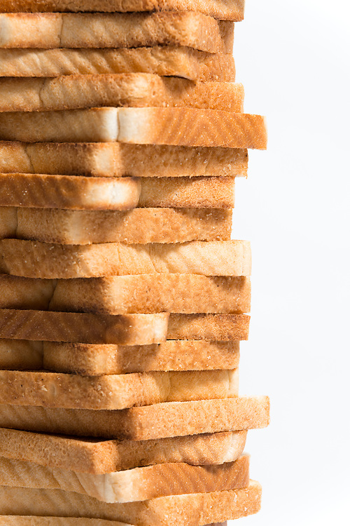 Close up detail of a tower of toasted bread