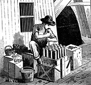 Inserting detonators into cartridges of dynamite for blasting Flood Rock, East River, part of the Hell Gate Rocks complex which was partially removed in 1876 and again in 1885. These rocks prevented large vessels reaching New York Harbour, and presented a hazard for smaller ones. From 'Scientific American', New York, 1885.