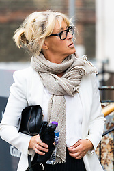 Cosima Somerset, 57, the niece of Annabel Goldsmith and cousin of Jemima Khan, at Lavender Hill Magistrates Court where she faces charges of Driving without due care and failing to stop following an accident. London, August 14 2019.