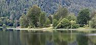 The shoreline of St. Mary Lake on Salt Spring Island, British Columbia, Canada