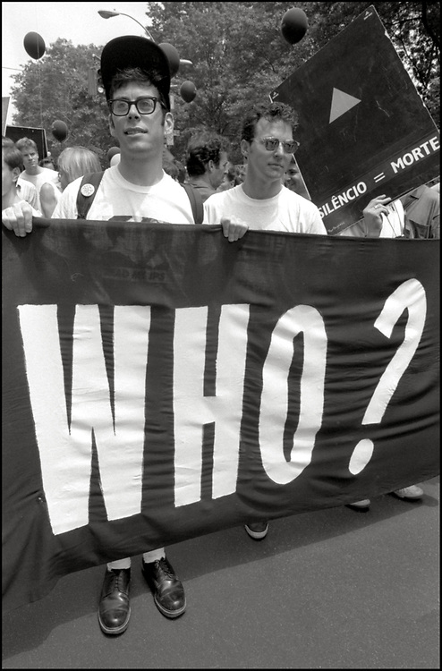 """Jack Ben-Levi and Frank Smithson of ACT UP NY, on June 24, 1989, the 20th anniversary of the Stonewall riots, participating in a renegade march up 6th avenue to Central Park. Themed, """"In The Tradition"""", this march followed the same route as the original march 20 years ago and was designed as a rebuke to the corporatization of the gay pride parade."""