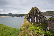 Ruins of church on Abbey Island, County Kerry, Ireland