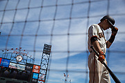 San Francisco Giants second baseman Kelby Tomlinson (37) walks to the batter's box against the Los Angeles Dodgers at AT&T Park in San Francisco, California, on April 27, 2017. (Stan Olszewski/Special to S.F. Examiner)