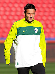 Zlatan Ljubijankic of Slovenia warm up during training session at Ellis Park on June 17, 2010 in Johannesburg, South Africa. Slovenia will play their next FIFA World Cup Group C match against USA at Ellis Park in on Friday June 18, 2010, in Johannesburg, South Africa. (Photo by Vid Ponikvar / Sportida)