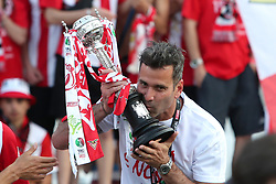 May 20, 2018 - Lisbon, Portugal - Aves' goalkeeper Artur Moraes of Brasil poses with the trophy after winning the Portugal Cup Final football match CD Aves vs Sporting CP at the Jamor stadium in Oeiras, outskirts of Lisbon, on May 20, 2015. (Aves won 2-1) (Credit Image: © Pedro Fiuza/NurPhoto via ZUMA Press)