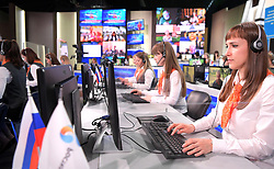June 15, 2017 - Moscow, Russia - Operators at the Gostiny Dvor studio before the annual Direct Line with Vladimir Putin broadcast live by Russian TV channels and radio stations. (Credit Image: © Russian Look via ZUMA Wire)