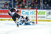 KELOWNA, BC - JANUARY 4:  Roman Basran #30 of the Kelowna Rockets makes a shoot out save on a shot by Tristen Nielsen #8 of the Vancouver Giants at Prospera Place on January 4, 2020 in Kelowna, Canada. (Photo by Marissa Baecker/Shoot the Breeze)