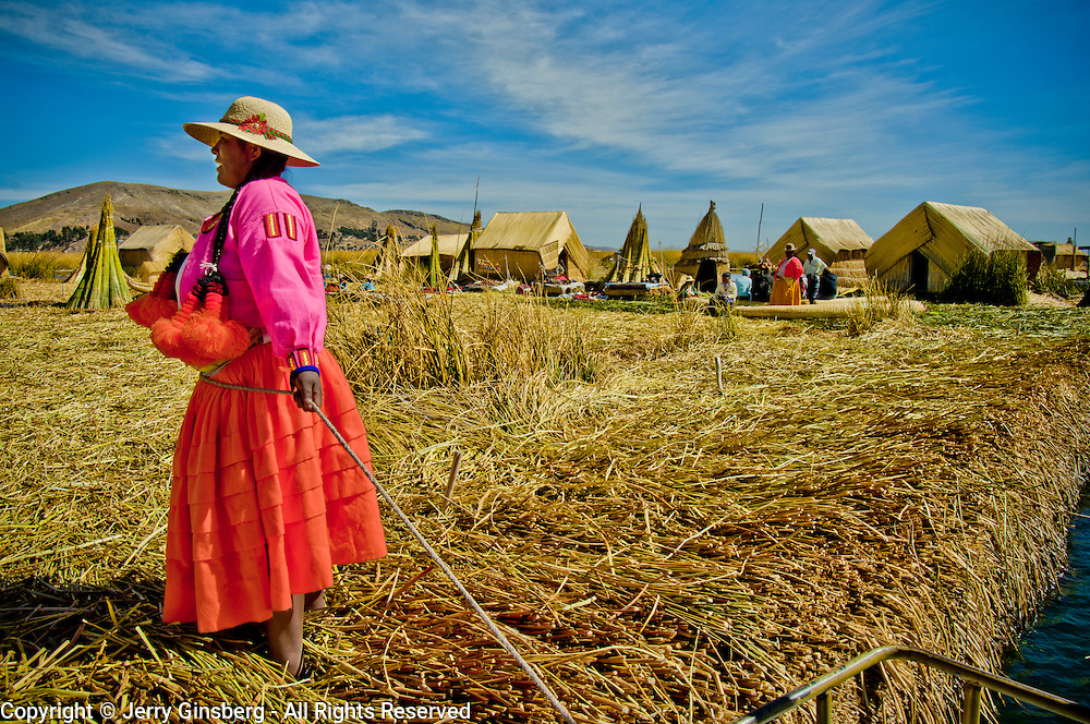 Colorful garb on the Uros Islands in Lake Titicaca, Peru.
