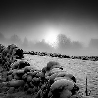 Snow on the tops and dry stone walls of the Hebden Valleynear Heptonstall