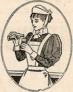 A hospital nurse pouring out a dose of medicine into a measuring glass.  Her uniform of blouse with leg-of-mutton sleeves, starched apron, bonnet and cuffs, is typical of that worn by nurses from the last quarter of the nineteenth century until the 1960s.