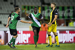 September 2, 2017 - Brugge, BELGIUM - Cercle's Stephen Buyl and Cercle's Jordy Gaspar celebrate after scoring during a soccer game between Cercle Brugge KSV and Lierse SK in Brugge, Saturday 02 September 2017, on day four of the division 1B Proximus League competition of the Belgian championship. BELGA PHOTO JASPER JACOBS (Credit Image: © Jasper Jacobs/Belga via ZUMA Press)