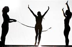 05.05.2011, Ferry Porsche CONGRESS CENTER, Zell am See, AUT, IRONMAN 70.3 Salzburg, im Bild drei weibliche Silhouetten bilden einen Zieleinlauf mit Jubel dar Schattenspiele während der Präsentations- Pressekonferenz des Ironman 70.3 Zell am See Kaprun, der am 26. August 2012 erstmals über die Bühne geht // three female silhouette image is a finish line with cheering shadow, EXPA Pictures © 2011, PhotoCredit: EXPA/ J. Feichter