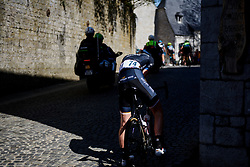 Emilia Fahlin (SWE) suffers a mechanical at La Flèche Wallonne Femmes 2018, a 118.5 km road race starting and finishing in Huy on April 18, 2018. Photo by Sean Robinson/Velofocus.com