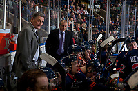 KELOWNA, CANADA - FEBRUARY 24: Kamloops Blazers' head coach Don Hay stands on the bench with assistant coach Dan De Palma against the Kelowna Rockets  on February 24, 2018 at Prospera Place in Kelowna, British Columbia, Canada.  (Photo by Marissa Baecker/Shoot the Breeze)  *** Local Caption ***