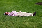An afternoon nap in Millennium Park. Chicago Illinois USA