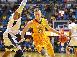 Nov 24, 2018; Morgantown, WV, USA; Valparaiso Crusaders center Derrik Smits (21) drives down the lane during the first half against the West Virginia Mountaineers at WVU Coliseum. Mandatory Credit: Ben Queen-USA TODAY Sports