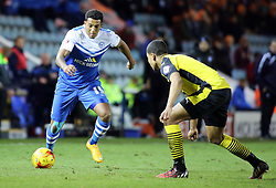 Peterborough United's Nathaniel Mendez-Laing takes on Colchester United's Alex Wynter - Photo mandatory by-line: Joe Dent/JMP - Mobile: 07966 386802 - 10/01/2015 - SPORT - Football - Peterborough - ABAX Stadium - Peterborough United v Colchester United - Sky Bet League One