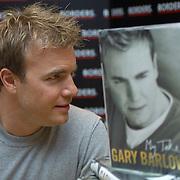 "Take That singer Gary Barlow promoting his autobiography ""Gary Barlow-My Take"" at Glasgow Border bookshop, October 2006<br />"