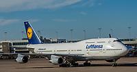 Lufthansa 747-400 taxiing to gate at Denver Internationl Airport, Denver, Colorado USA.