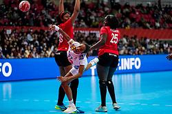 08-12-2019 JAP: Angola - France, Kumamoto<br /> First round President's Cup match Angola - France (17-28) at 24th IHF Women's Handball World Championship. / Estelle Nze Minko #27 of France, Albertina Kassoma #10 of Angola