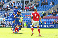 Cardiff City midfielder Marlon Pack (21) heads towards goal during the EFL Sky Bet Championship match between Cardiff City and Bristol City at the Cardiff City Stadium, Cardiff, Wales on 28 August 2021.