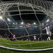 Galatasaray's Umut Bulut scores during their Turkish Super League soccer match Galatasaray between Mersin idman Yurdu at the AliSamiYen Spor Kompleksi TT Arena at Seyrantepe in Istanbul Turkey on Saturday, 20 December 2014. Photo by Aykut AKICI/TURKPIX