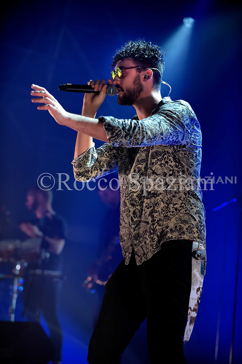 Carl Brave X Franco 126 performs on stage on February 5, 2018 in Rome, Italy.