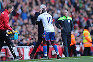 Yannick Bolasie of Crystal Palace celebrates after scoring his sides 1st goal to make it 1-1 with Alan Pardew, the Crystal Palace manager. Barclays Premier league match, Arsenal v Crystal Palace at the Emirates Stadium in London on Sunday 17th April 2016.<br /> pic by John Patrick Fletcher, Andrew Orchard sports photography.