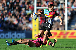 Ollie Lindsay-Hague of Harlequins in possession - Photo mandatory by-line: Patrick Khachfe/JMP - Mobile: 07966 386802 04/10/2014 - SPORT - RUGBY UNION - London - The Twickenham Stoop - Harlequins v London Welsh - Aviva Premiership