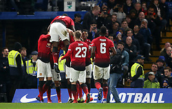 Manchester United's Ander Herrera celebrates scoring his side's first goal of the game during the FA Cup fifth round match at Stamford Bridge, London.
