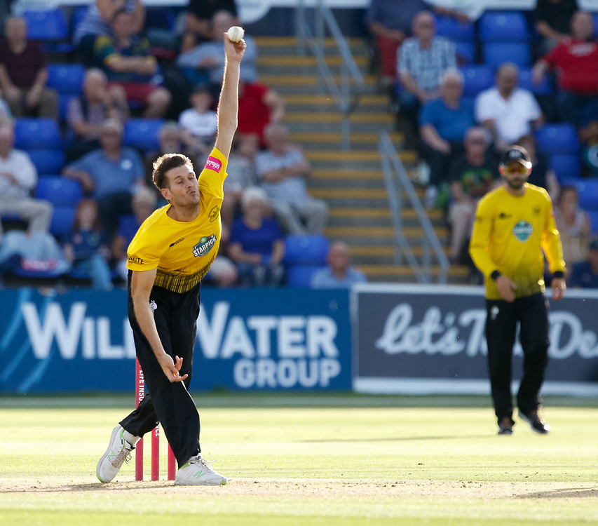 Gloucestershire's David Payne<br /> <br /> Photographer Simon King/Replay Images<br /> <br /> Vitality Blast T20 - Round 8 - Glamorgan v Gloucestershire - Friday 3rd August 2018 - Sophia Gardens - Cardiff<br /> <br /> World Copyright © Replay Images . All rights reserved. info@replayimages.co.uk - http://replayimages.co.uk