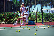 Tennis court with couple<br />