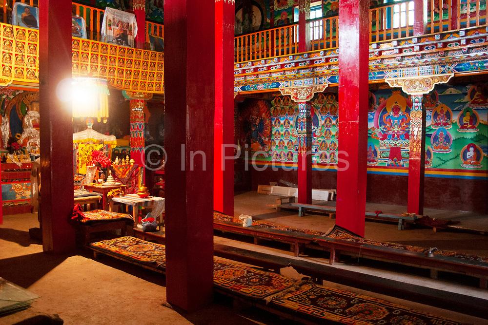 Tibetan monastery and temple at Shi Zi Shan, Lion Mountain, near the small settlement of Li Ge on Lugu Lake, Yunnan, China.