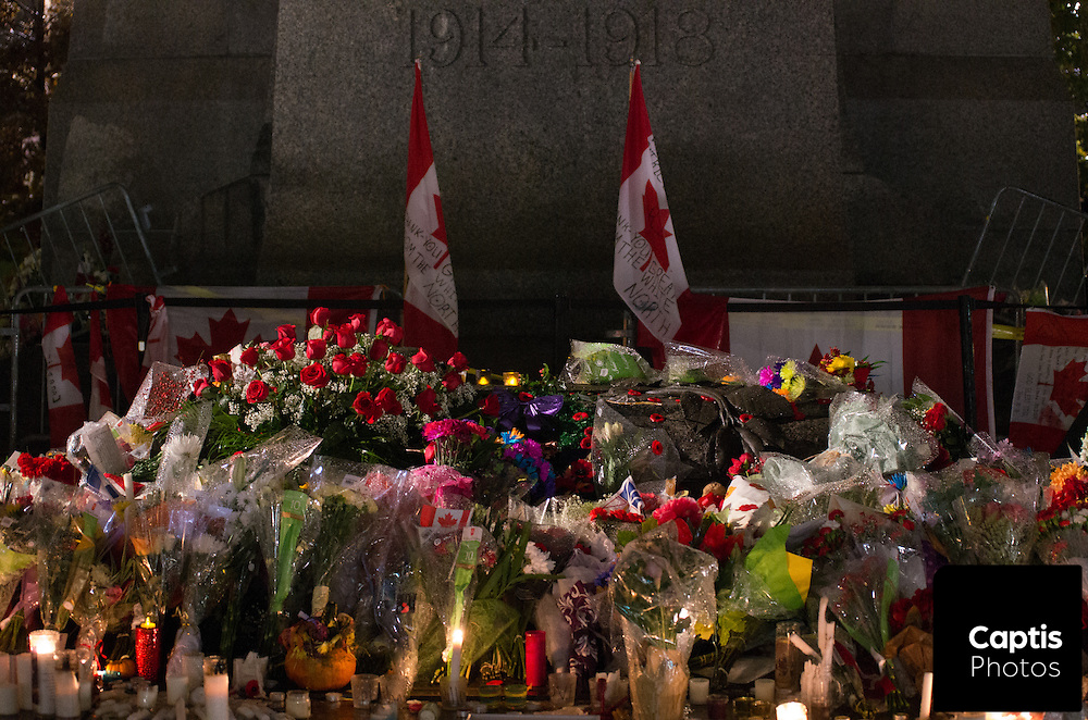 Flowers placed on the cenotaph at the National War Memorial following the shooting of Cpl. Nathan Cirillo. October 25, 2014.