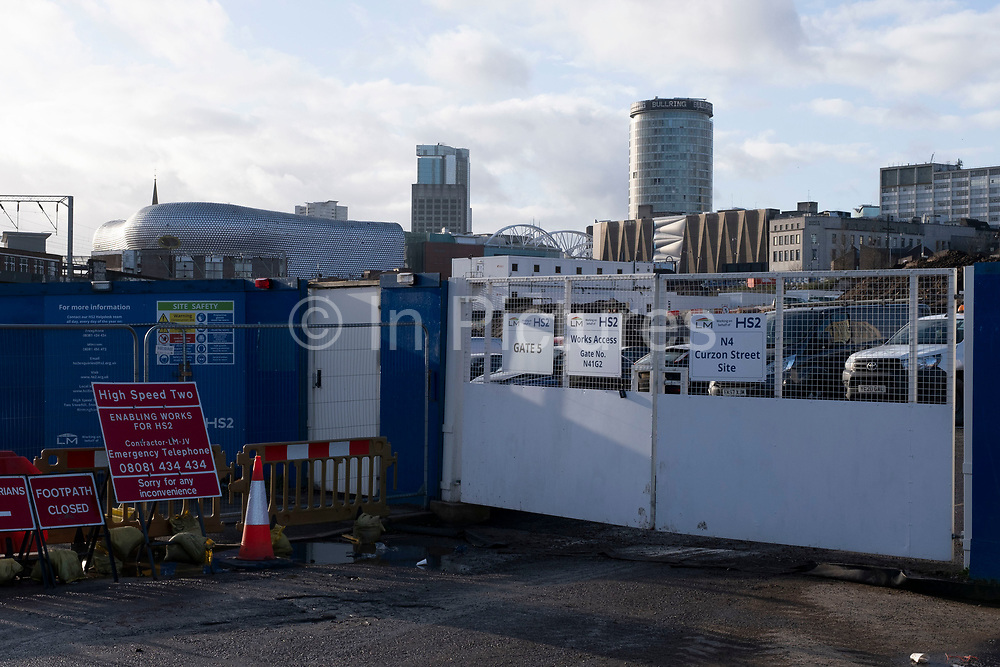 Work continues at the construction site for the HS2 mainline station at Curzon Street on 14th December 2020 in Birmingham, United Kingdom. The Curzon Street Masterplan covers a 141 hectare area of regeneration, focussed on HS2 Curzon Street station in Birmingham city centre, combined with approximately 700 million in investment into the surrounding area including new homes and commercial developments. High Speed 2 is a partly planned high speed railway in the United Kingdom with its first phase in the early stages of construction, the second phase is yet to receive full approval and the third is subject to merging with Northern Powerhouse Rail, a separate project.